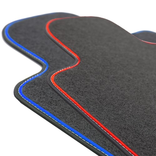 Velor car floor mats with tape